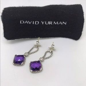 David Yurman Amethyst Cushion on Point Earrings